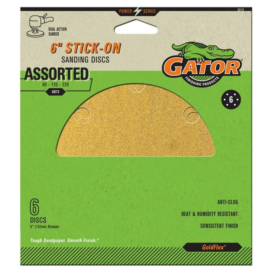 Gator 6-Pack 6-in W x 6-in L Multi-Grade Pack Commercial 6-Hole Stick-On Sanding Disc Sandpaper