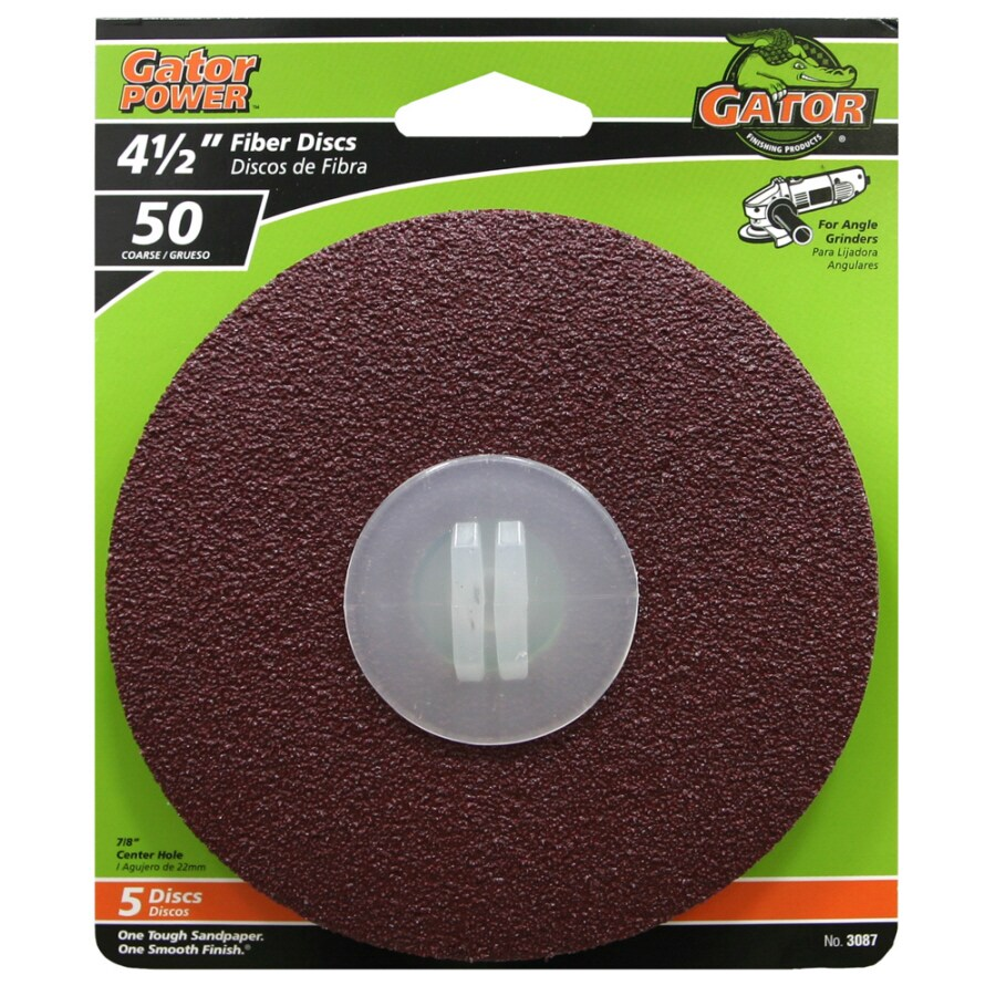 Gator 5-Pack 4.5-in W x 4.5-in L 50-Grit Commercial Fiber Disc Sandpaper