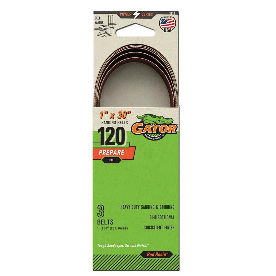 Gator 3-Pack 1-in W x 30-in L 120-Grit Commercial Sanding Belt Sandpaper