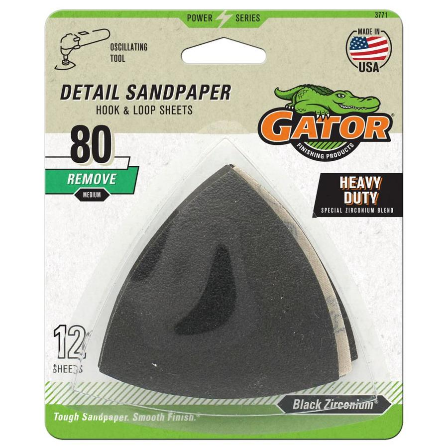 Gator 12-Pack 3-in W x 3-in L 80-Grit Commercial Hook and Loop Detail Sandpaper Sheets