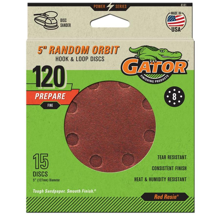 Gator 15-Pack 5-in W x 5-in L 120-Grit Commercial 8-Hole Hook and Loop Sanding Disc Sandpaper