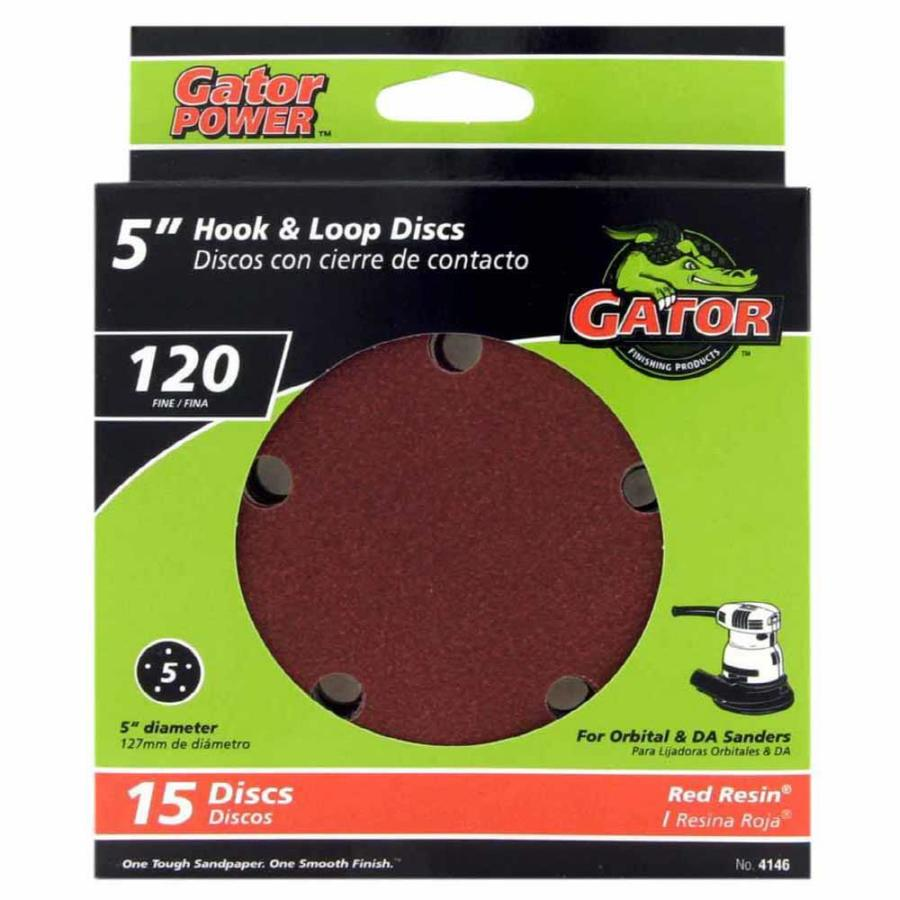 Gator 15-Pack 5-in W x 5-in L 120-Grit Commercial 5-Hole Hook and Loop Sanding Disc Sandpaper