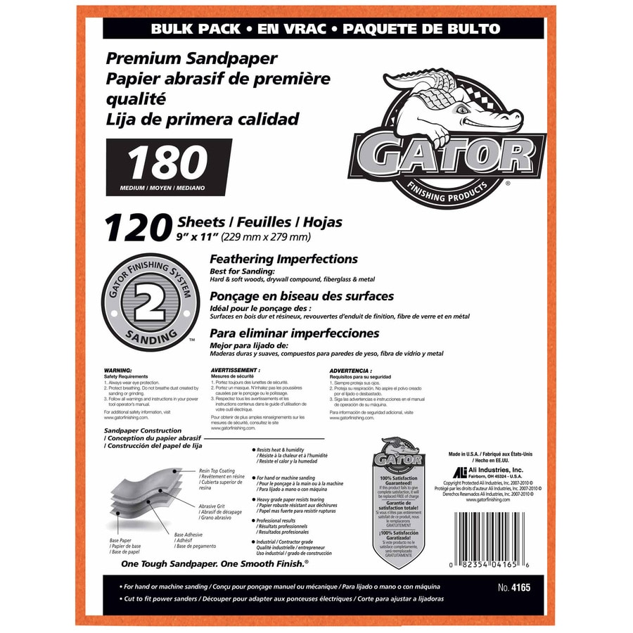 Gator 120-Pack 9-in W x 11-in L 180-Grit Commercial Sandpaper Sheets