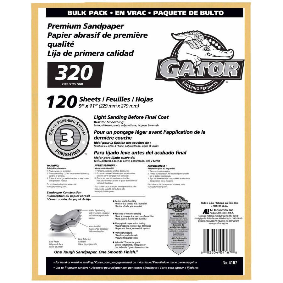Gator 120-Pack 9-in W x 11-in L 320-Grit Commercial Sandpaper Sheets