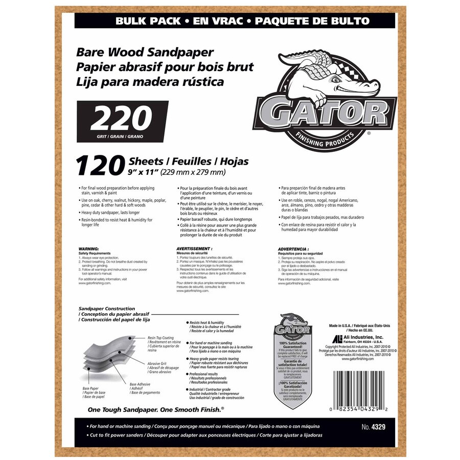 Gator 120-Pack 9-in W x 11-in L 220-Grit Commercial Sandpaper Sheets