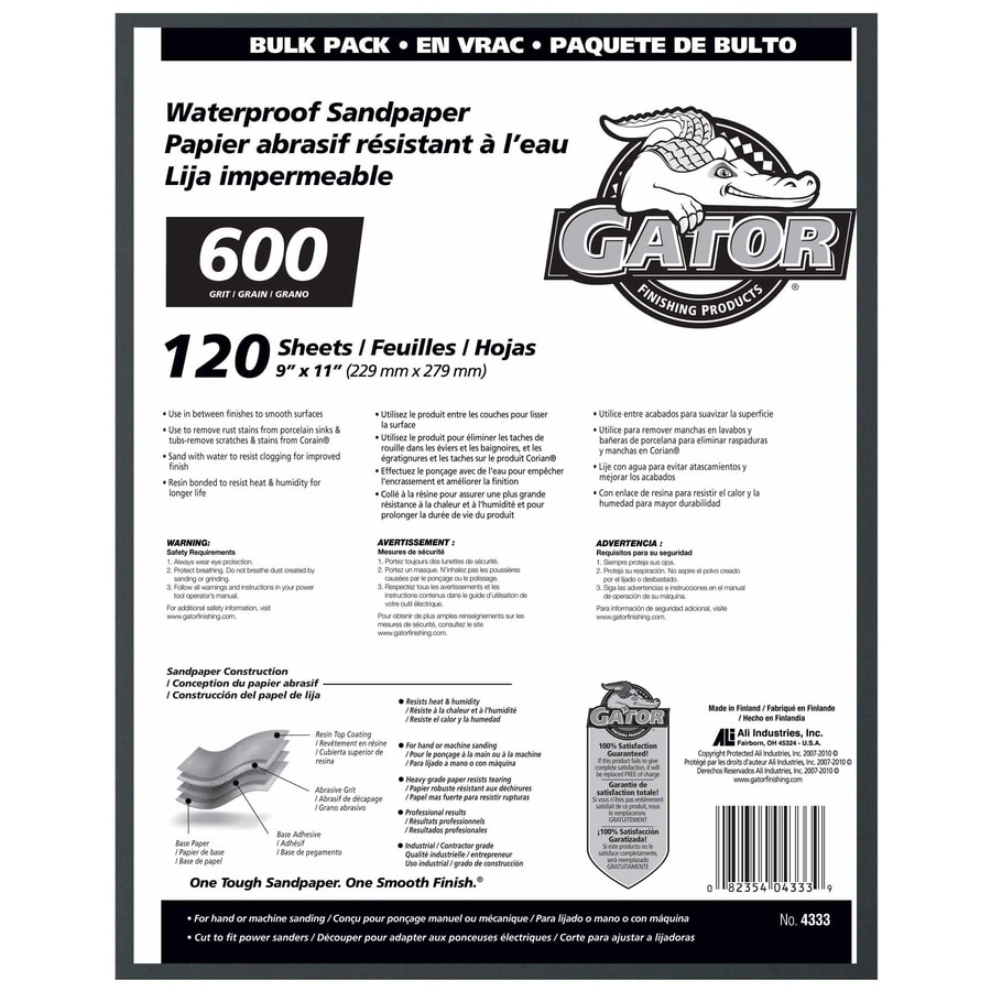 Gator 120-Pack 9-in W x 11-in L 600-Grit Commercial Sandpaper Sheets