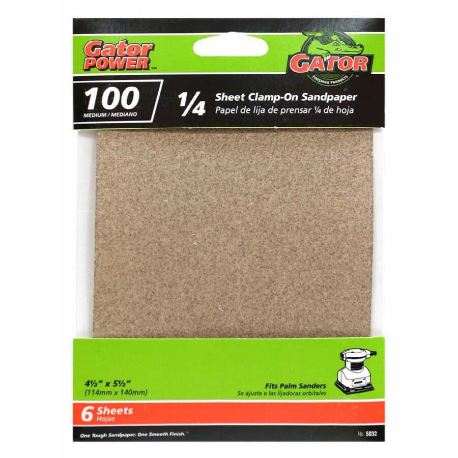 Gator 6-Pack 4.5-in W x 4.5-in L 100-Grit Commercial 1/4 Sheet Clamp-On Sandpaper