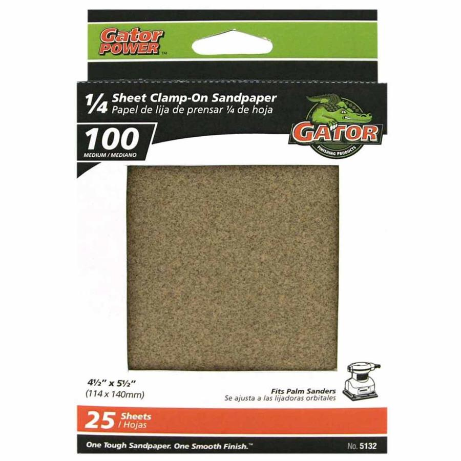 Gator 25-Pack 4.5-in W x 5.5-in L 100-Grit Commercial 1/4 Sheet Clamp-On Sandpaper