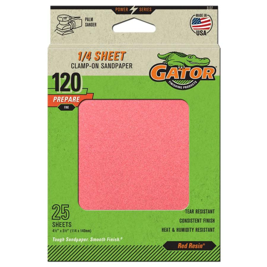 Gator 25-Pack 4.5-in W x 5.5-in L 120-Grit Commercial Clamp-On Sanding Sheets