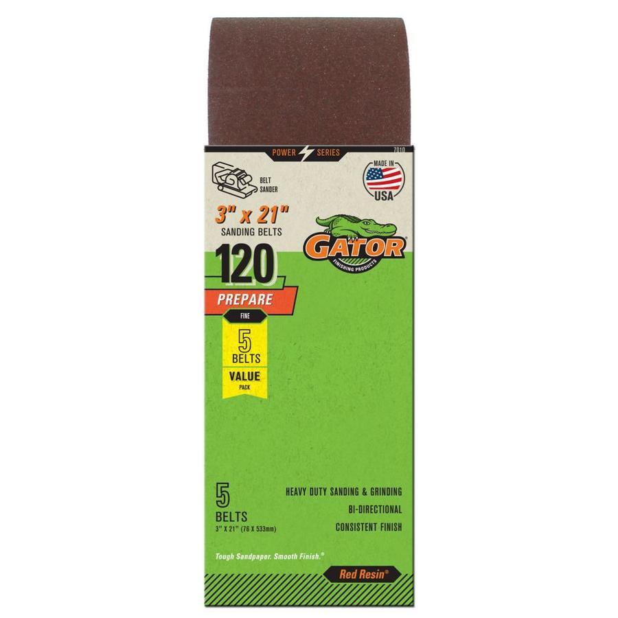 Gator 5-Pack 3-in W x 21-in L 120-Grit Commercial Sanding Belt Sandpaper