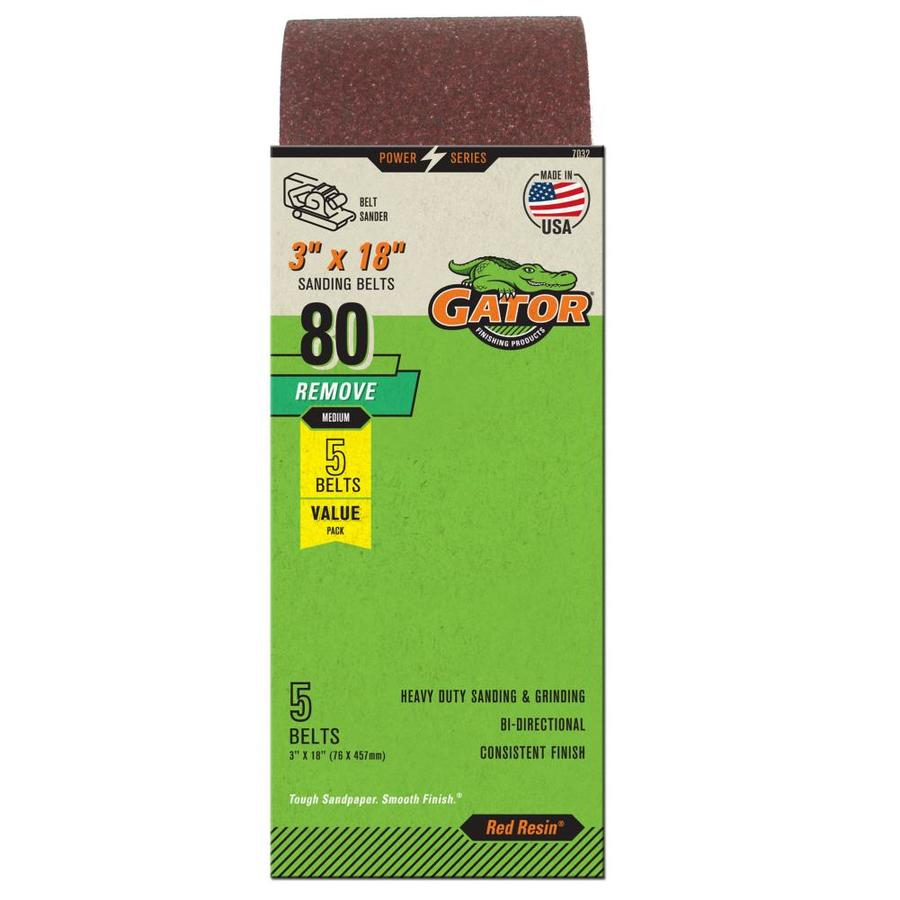 Gator 5-Pack 3-in W x 18-in L 80-Grit Commercial Sanding Belt Sandpaper