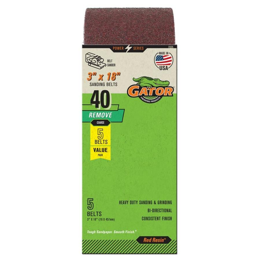 Gator 5-Pack 3-in W x 18-in L 40-Grit Commercial Sanding Belt Sandpaper