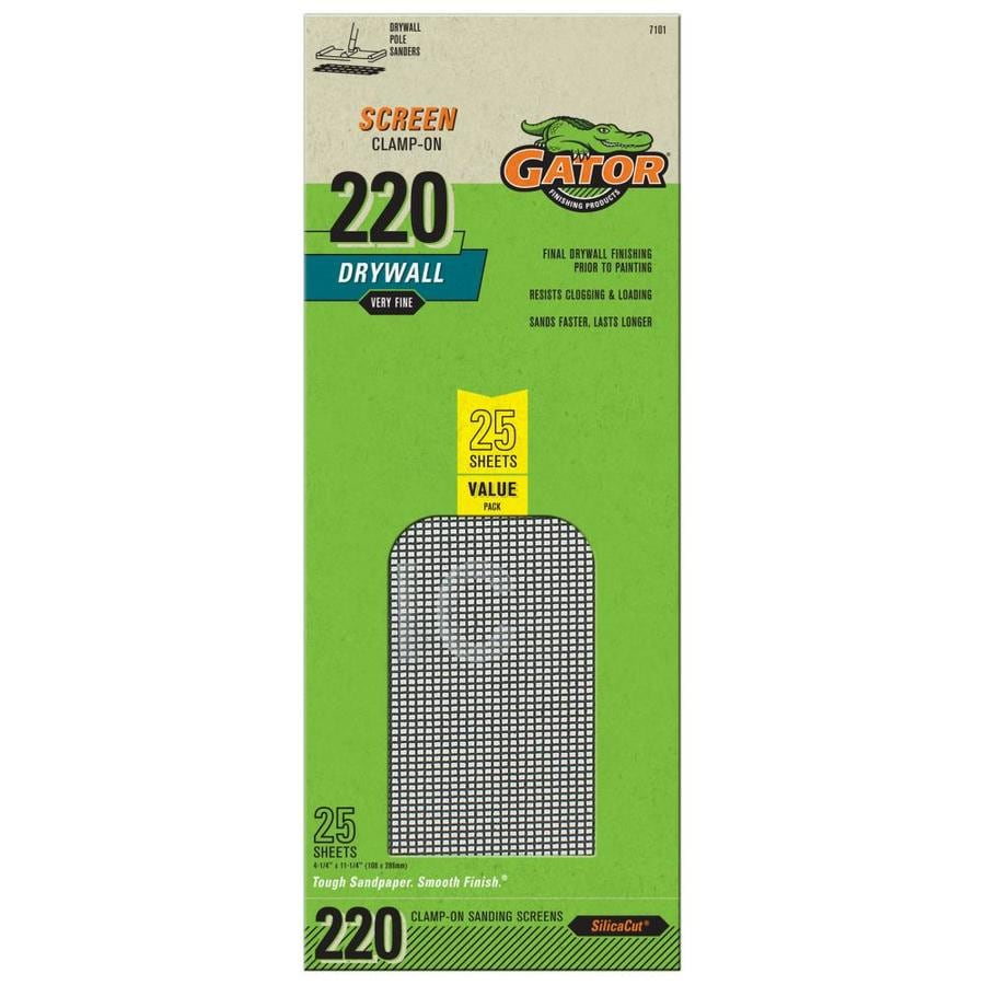 Gator 25-Pack 4.25-in W x 11.25-in L 220-Grit Commercial Precut Drywall Sanding Screen Sandpaper