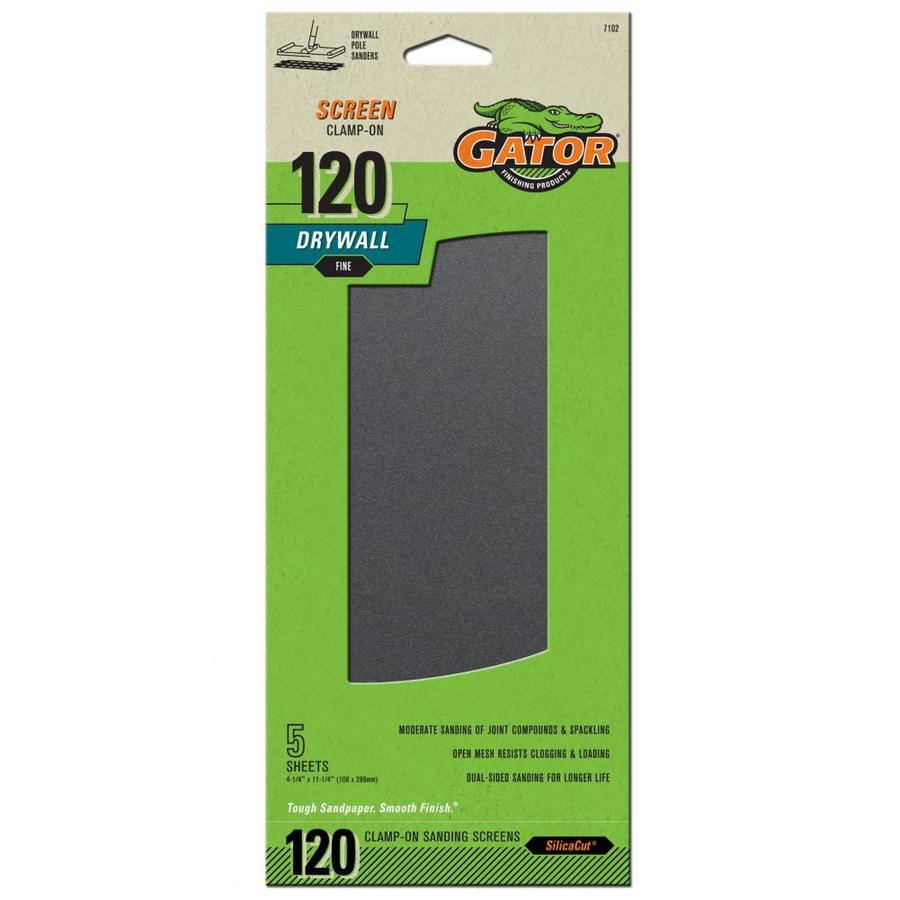 Gator 5-Pack 4.25-in W x 11.25-in L 120-Grit Commercial Precut Drywall Sanding Screen Sandpaper