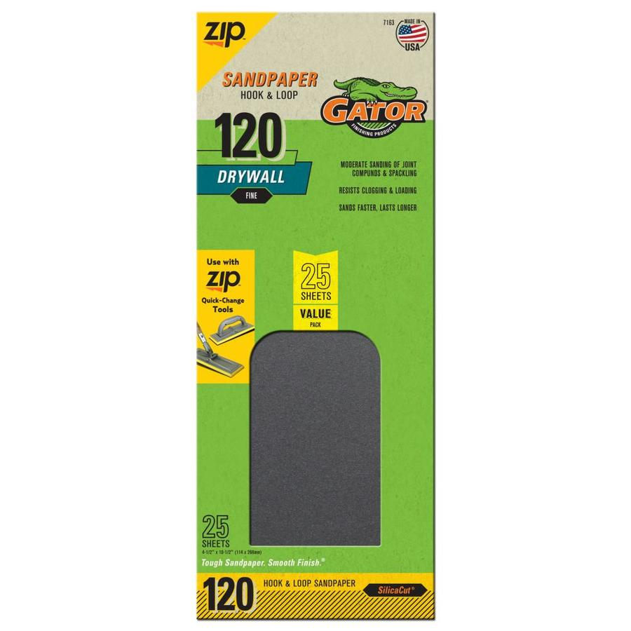 Gator 25-Pack 4.5-in W x 10.5-in L 120-Grit Commercial Drywall Hook and Loop Sanding Sheets