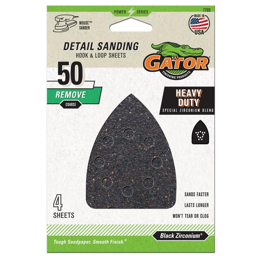 Gator 4-Pack 3.75-in W x 5.25-in L 50-Grit Commercial Hook and Loop Detail Sandpaper