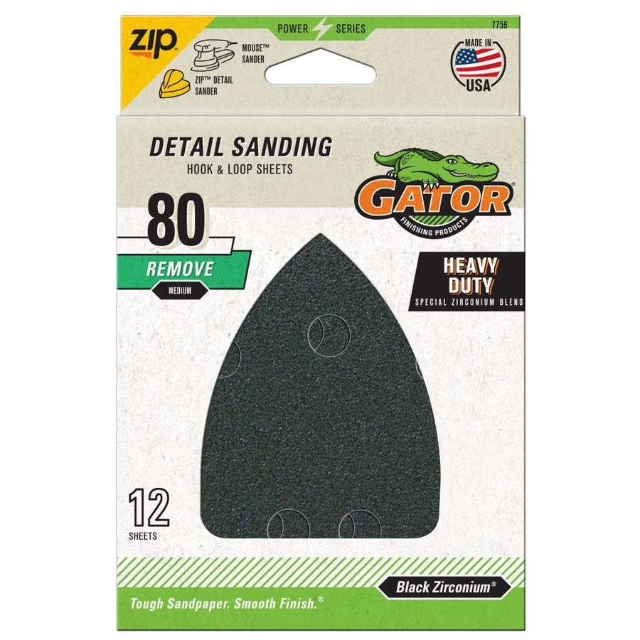 Gator 12-Pack 3.75-in W x 5.25-in L 80-Grit Commercial Hook and Loop Detail Sandpaper