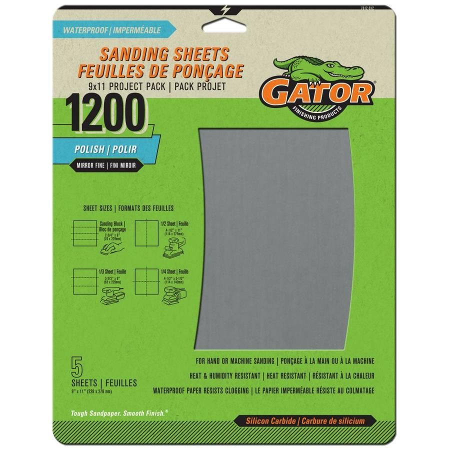 Gator 5-Pack 9-in W x 11-in L 1,200-Grit Commercial Sanding Sheets