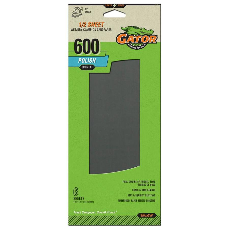 Gator 6-Pack 4.5-in W x 11-in L 600-Grit Commercial Sandpaper Sheets