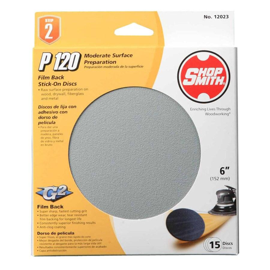 Shopsmith 15-Pack 6-in W x 6-in L 120-Grit Commercial Sanding Disc Sandpaper
