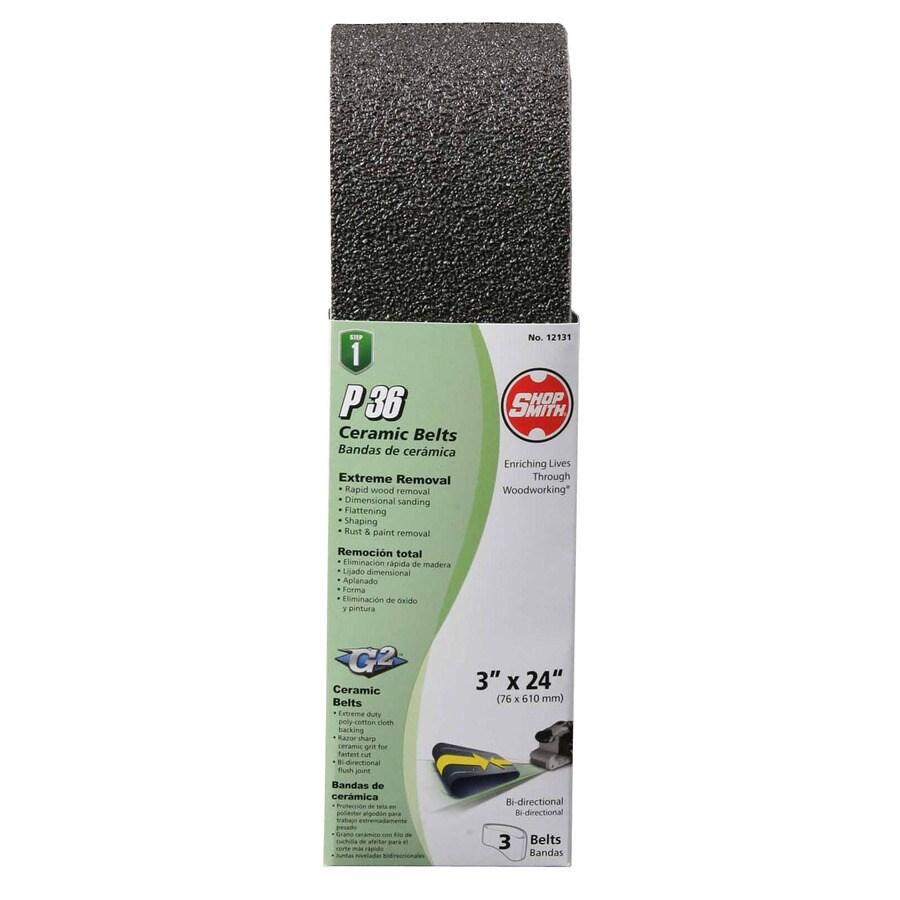 Shopsmith 3-Pack 3-in W x 24-in L 36-Grit Commercial Sanding Belt Sandpaper