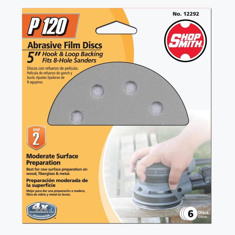 Shopsmith 6-Pack 5-in W x 5-in L 120-Grit Commercial Sanding Discs Sandpaper