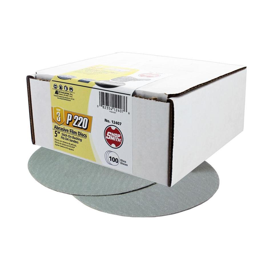 Shopsmith 100-Pack 5-in W x 5-in L 220-Grit Commercial Sanding Discs Sandpaper