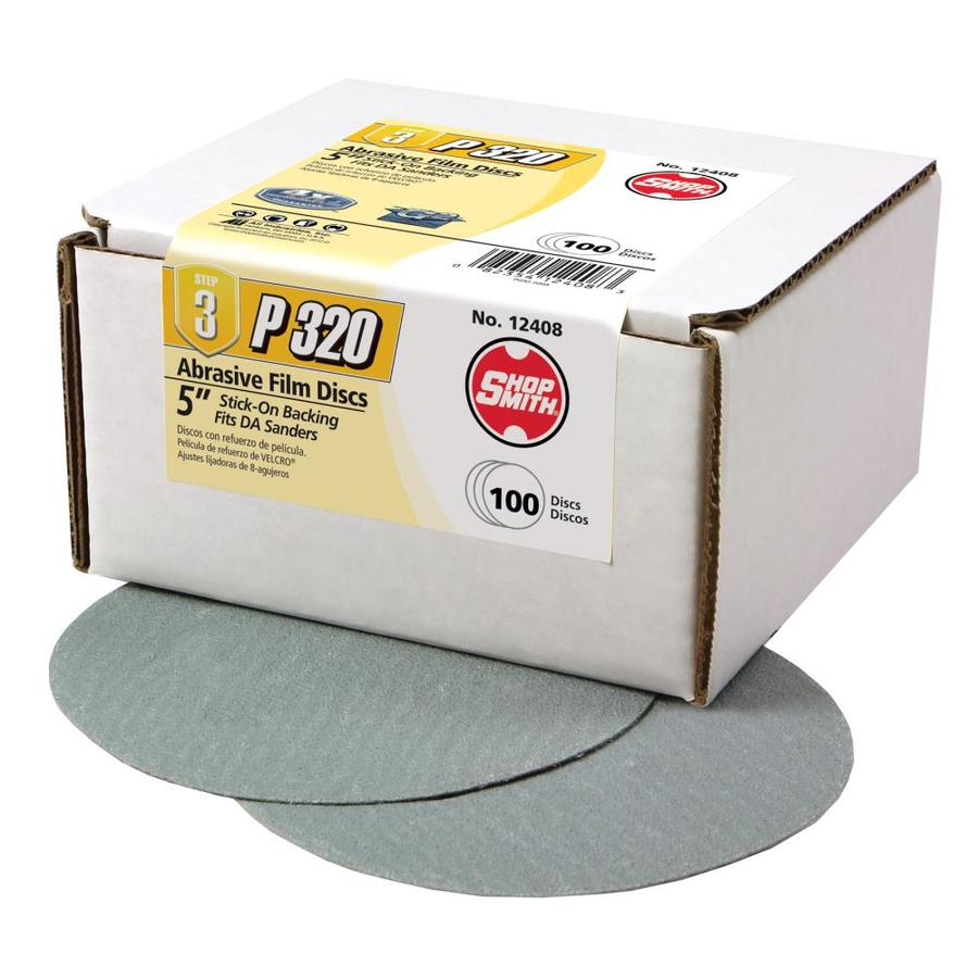 Shopsmith 100-Pack 5-in W x 5-in L 320-Grit Commercial Sanding Discs Sandpaper