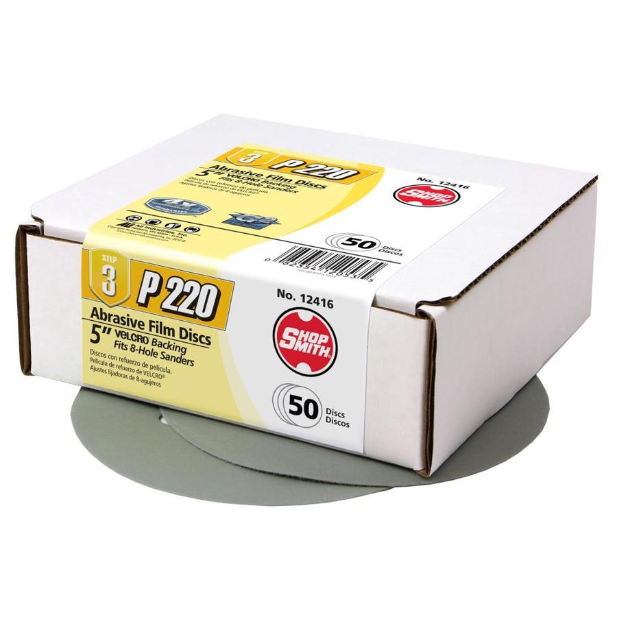 Shopsmith 50-Pack 5-in W x 5-in L 220-Grit Commercial Sanding Discs Sandpaper