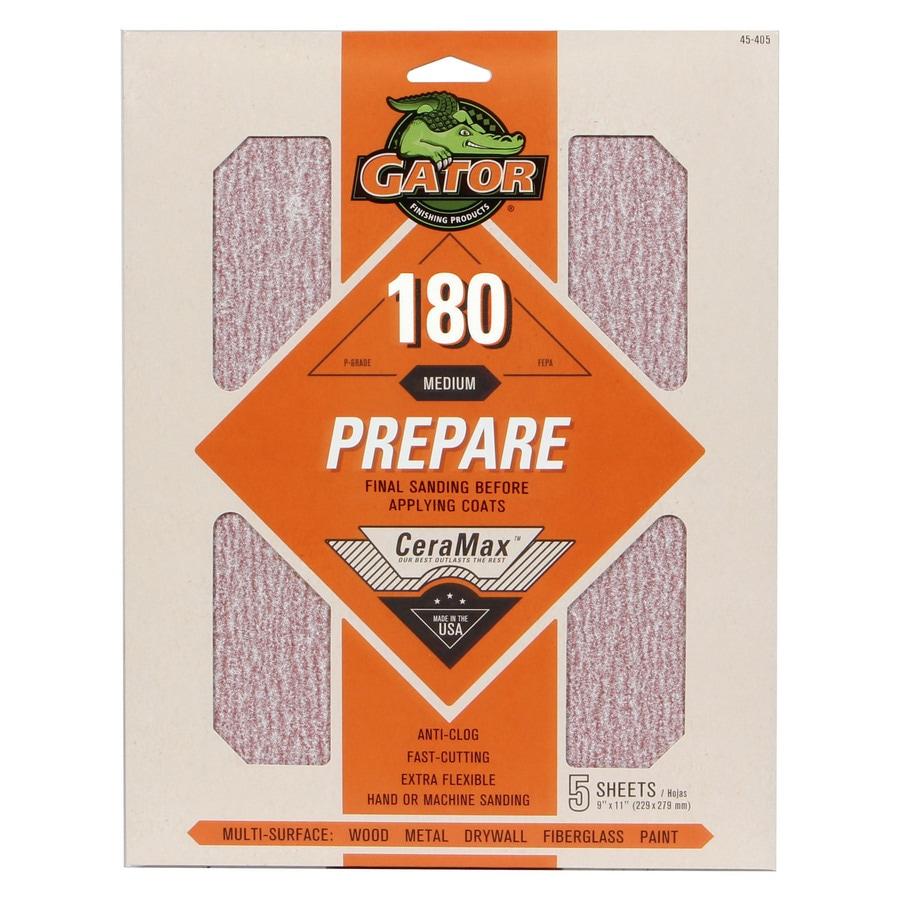 Gator CeraMax 5-Pack 9-in W x 11-in L 180-Grit Premium Sandpaper Sheets