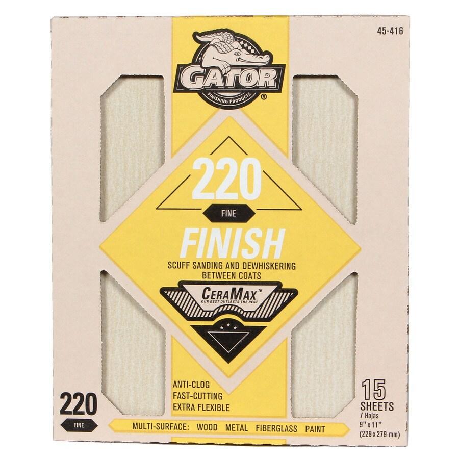 Gator CeraMax 15-Pack 9-in W x 11-in L 220-Grit Premium Sandpaper Sheets