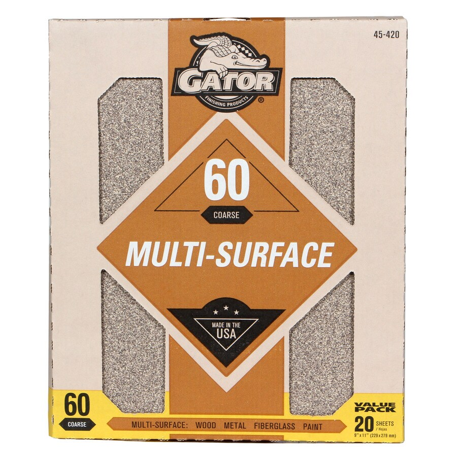 Gator 20-Pack 9-in W x 11-in L 60-Grit Commercial Sandpaper Sheets