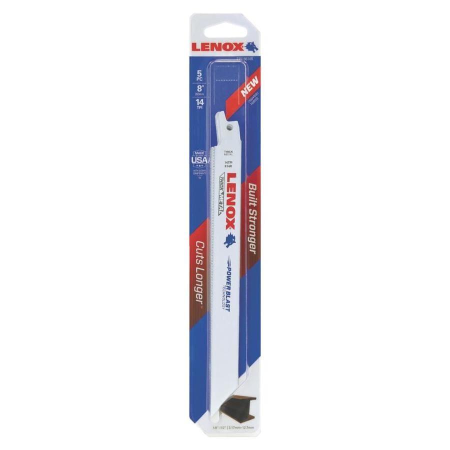 LENOX 5-Pack 8-in 14-TPI Bi-Metal Reciprocating Saw Blade Set