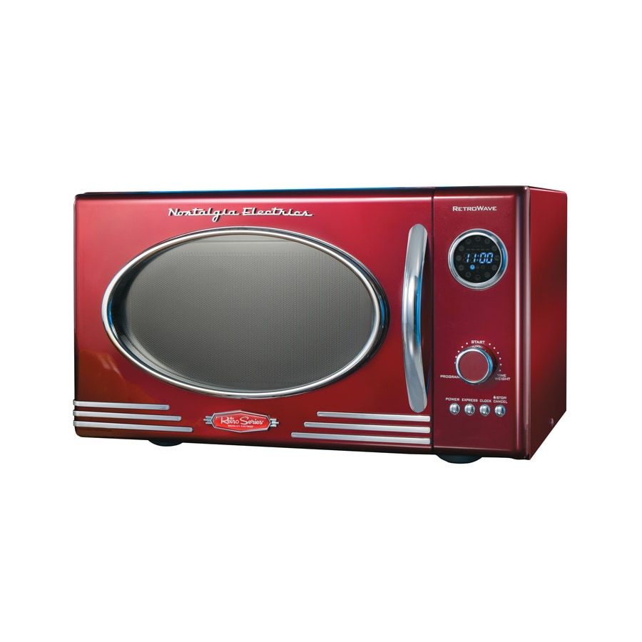 Nostalgia Electrics 0.9-cu ft 800-Watt Countertop Microwave (Red)