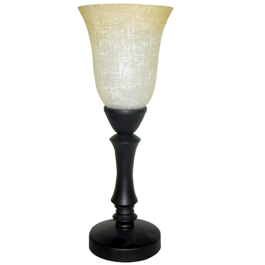 allen + roth 16-in Bronze Indoor Table Lamp with Glass Shade