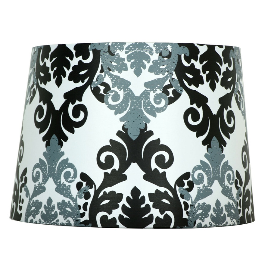 Style Selections 9-in x 13-in Black and White Fabric Drum Lamp Shade