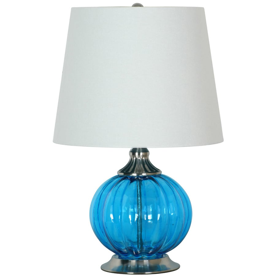 Portfolio 21-in 3-Way Blue and Brushed Steel Indoor Table Lamp with Fabric Shade