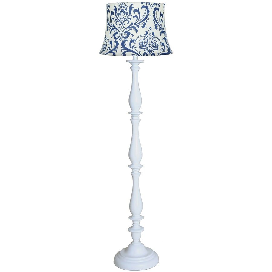 allen + roth 62-in White Indoor Floor Lamp with Fabric Shade