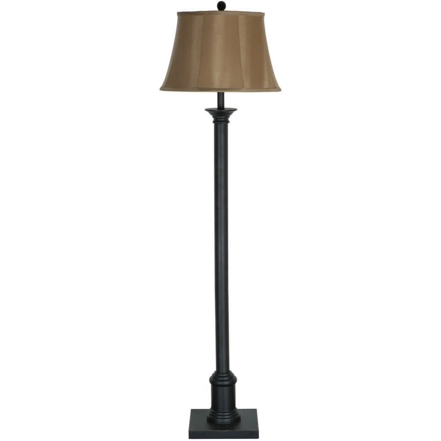 allen + roth 59-in Bronze Indoor Floor Lamp with Fabric Shade