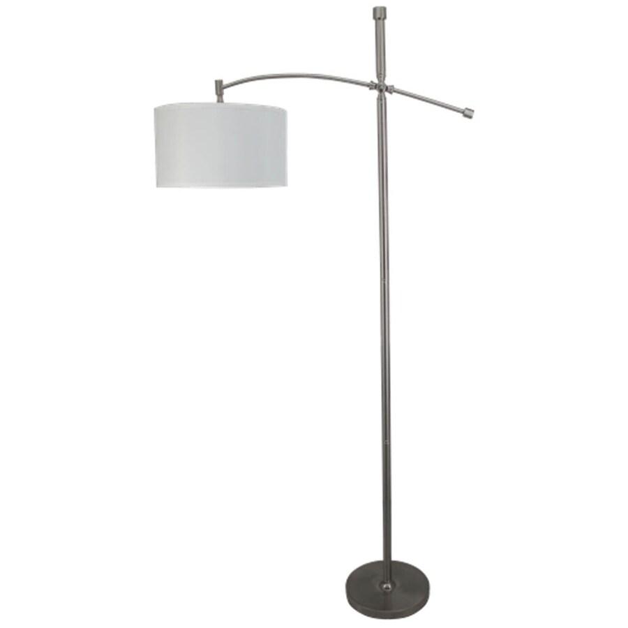 allen + roth 67-in Brushed Steel Indoor Floor Lamp with Fabric Shade