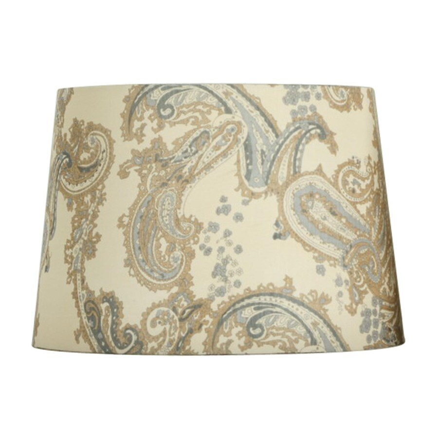 Portfolio 10-in x 14-in Cream and Blue Drum Lamp Shade
