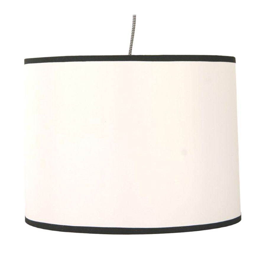 13 5 in w white plug in pendant light with fabric shade at. Black Bedroom Furniture Sets. Home Design Ideas