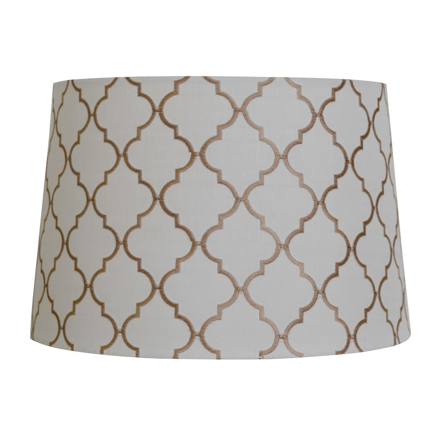 allen + roth 10-in x 15-in White with Tan Embroidery Fabric Drum Lamp Shade
