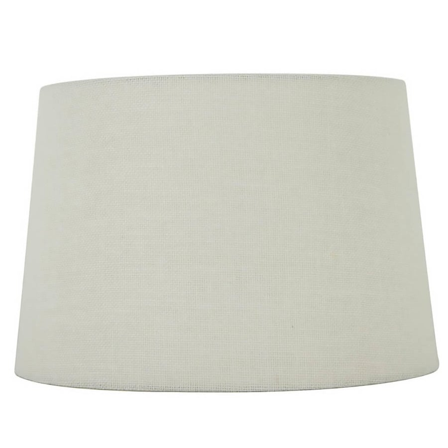 allen + roth 10-in x 15-in White Burlap Fabric Drum Lamp Shade