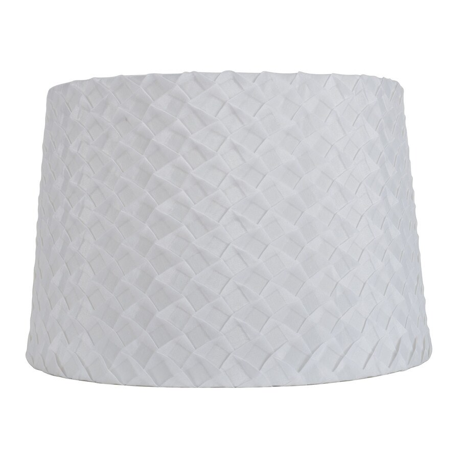 Shop Allen Roth 10 In X 15 In Off White Fabric Drum Lamp