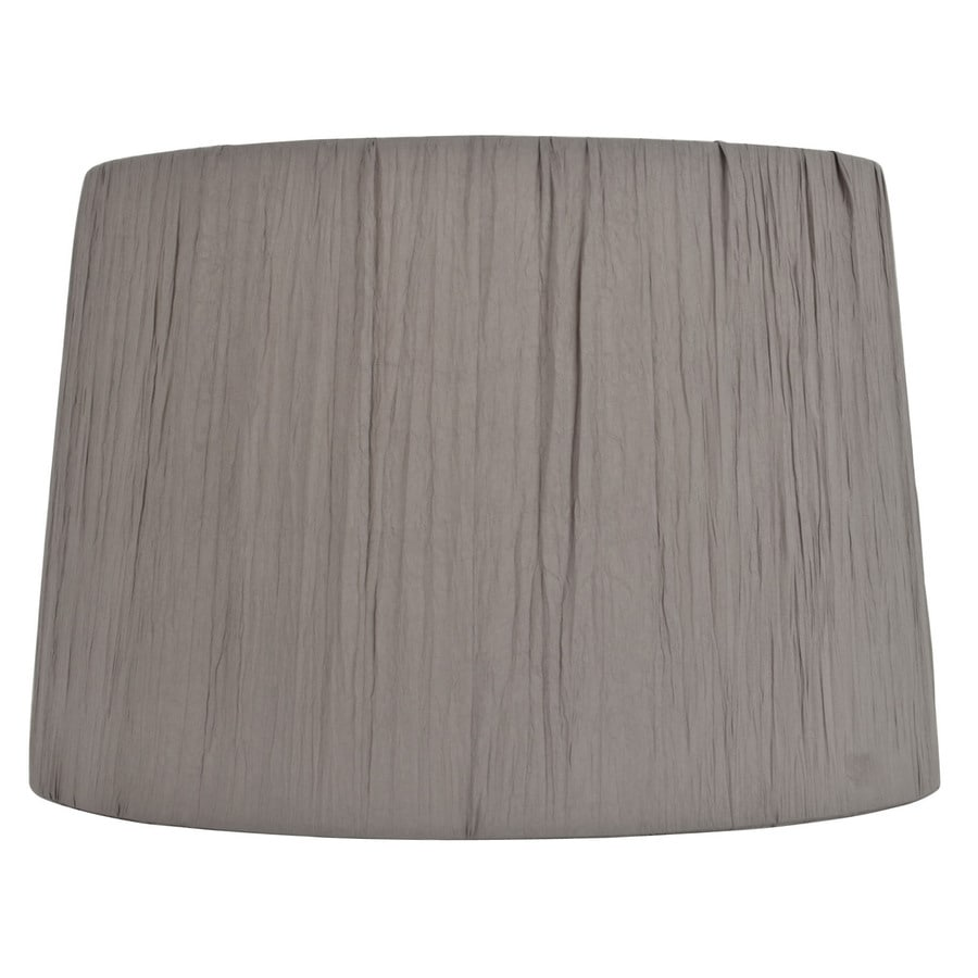 Shop Allen Roth 10 In X 15 In Gray Fabric Drum Lamp