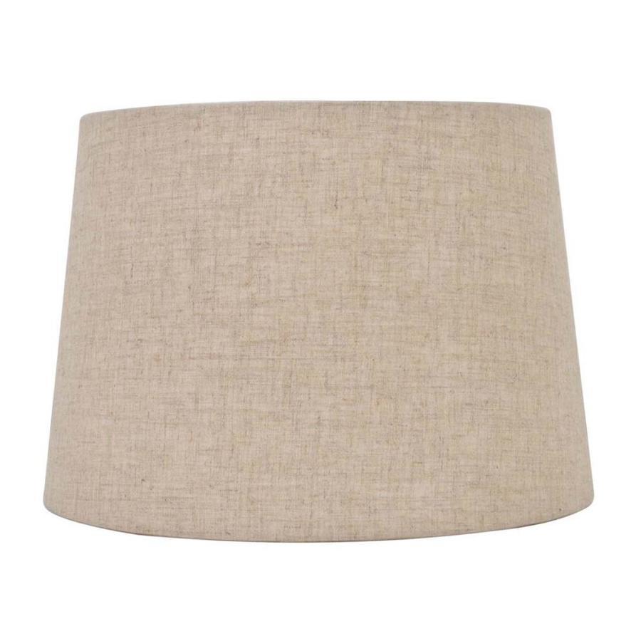 Shop Allen + Roth 7-in X 10-in Tan Linen Fabric Drum Lamp