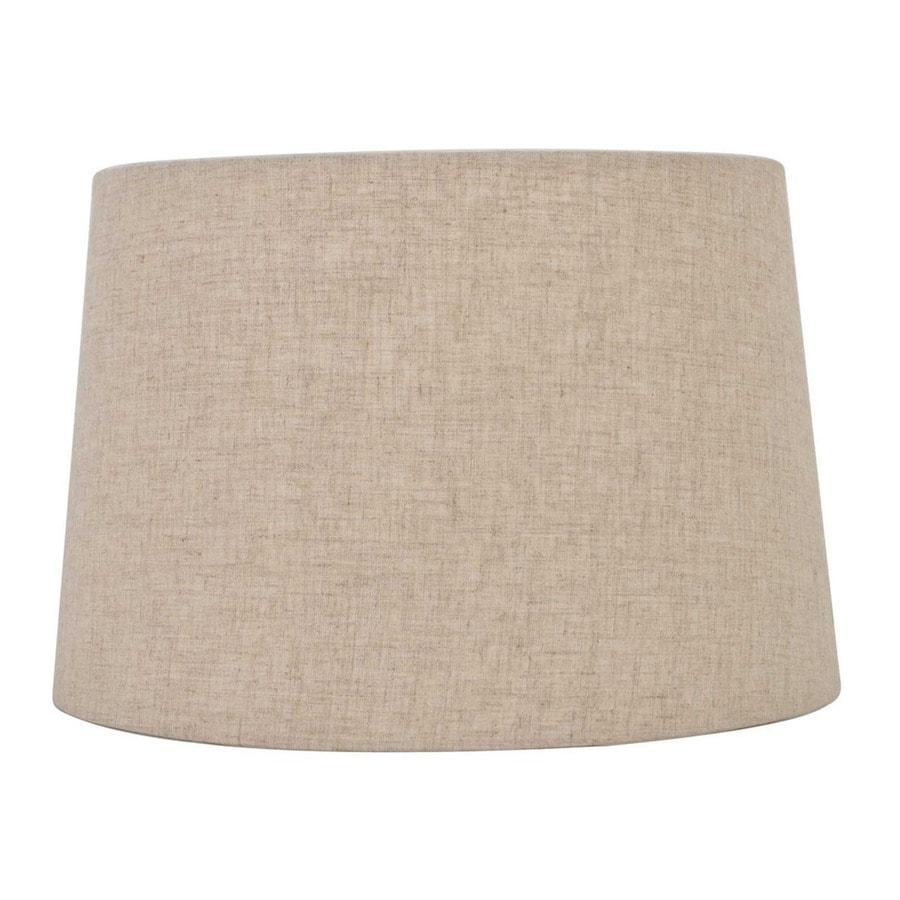 Shop Allen Roth 9 In X 13 In Tan Linen Fabric Drum Lamp