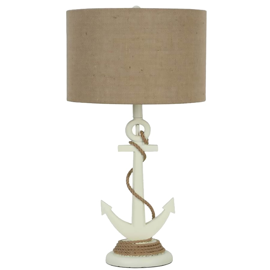 25.5-in Ivory Indoor Table Lamp with Fabric Shade