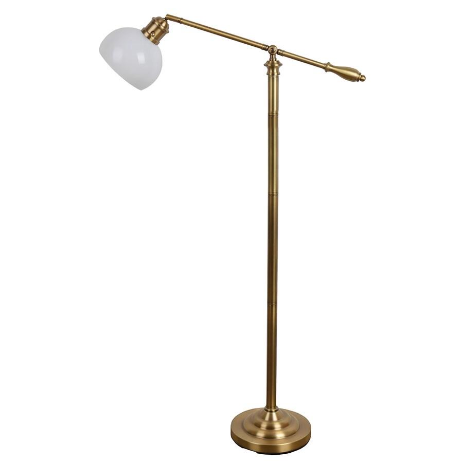 allen + roth 54-in Brass Standard Indoor Floor Lamp with Glass Shade